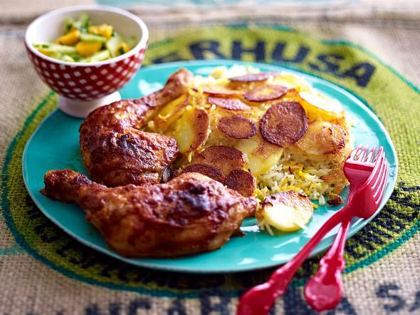 Persischer Kartoffelreis mit feurigen Hähnchenkeulen Rezept