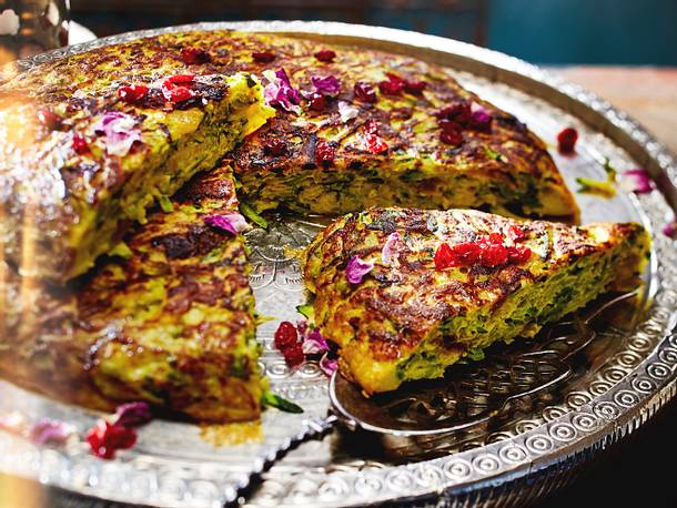 Persischer Zucchinikuchen mit Berberitzen (Kuku-e Kadu) - Rezept