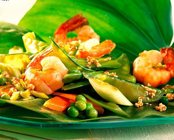 Pfannengerührtes Gemüse mit Garnelen Rezept