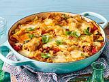 Pfannenlasagne mit dreierlei Käse und Zucchini Rezept