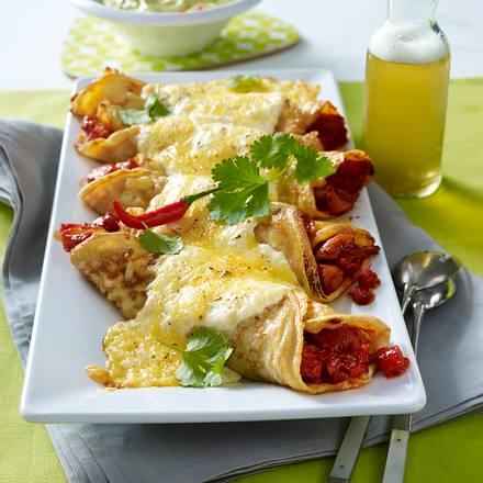 Pfannkuchen Entchilada-Art mit Hähnchenfleisch und Guacamole Rezept