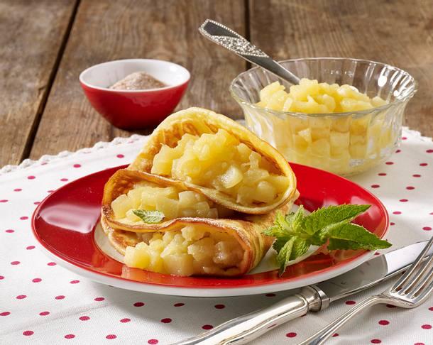 Pfannkuchen mit Apfelkompott Rezept
