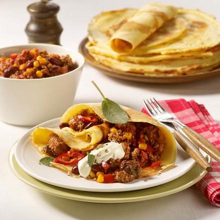 Pfannkuchen mit Chili con Carne-Füllung Rezept