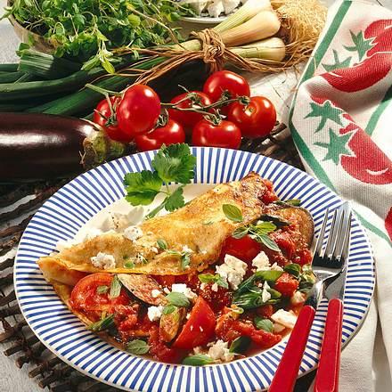Pfannkuchen mit Gemüse & Feta Rezept