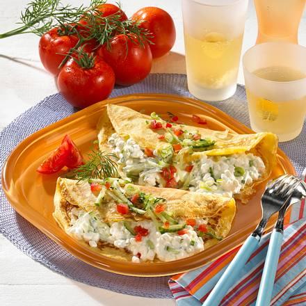 Pfannkuchen mit griechischem Gurken-Frischkäse Rezept