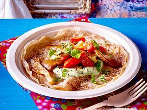 Pfannkuchen mit Kräutercreme und Austernpilzen (vegan) Rezept