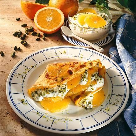 Pfannkuchen mit Orangen-Pistazien-Quark Rezept