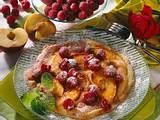 Pfannkuchen mit Pfirsichen und Himbeeren Rezept