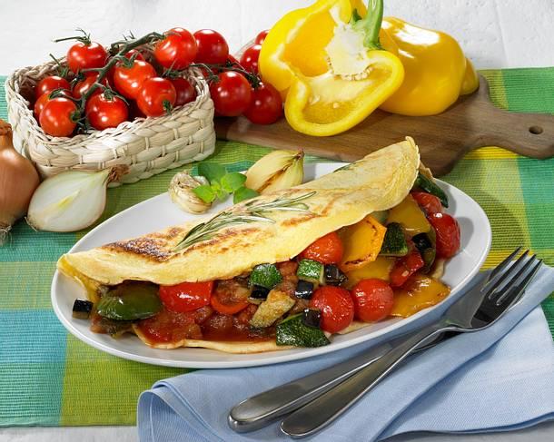 Pfannkuchen mit Ratatouille-Füllung Rezept
