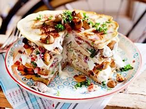 Pfannkuchen mit Speck und Lauchzwiebeln Rezept