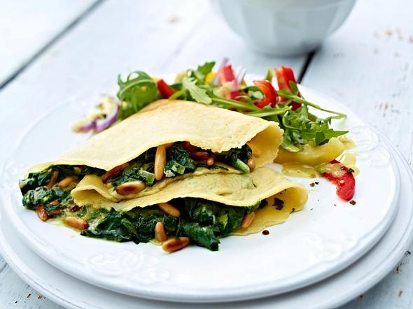 Pfannkuchen mit Spinat-Stilton-Füllung Rezept
