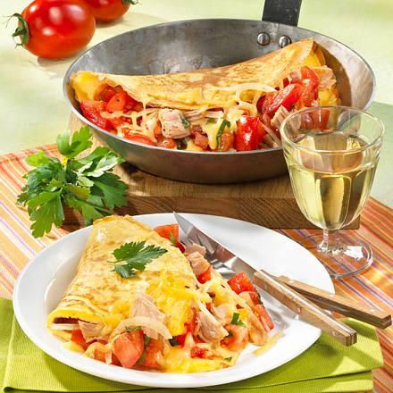 Pfannkuchen mit Tomaten-Thunfischfüllung Rezept