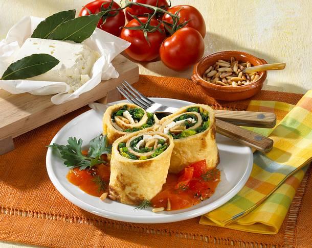 Pfannkuchenröllchen mit Schafskäse und Spinat Rezept