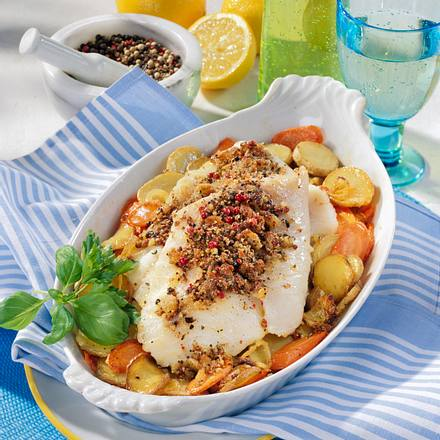 Pfeffer-Fisch auf Kartoffel-Möhren-Bett Rezept
