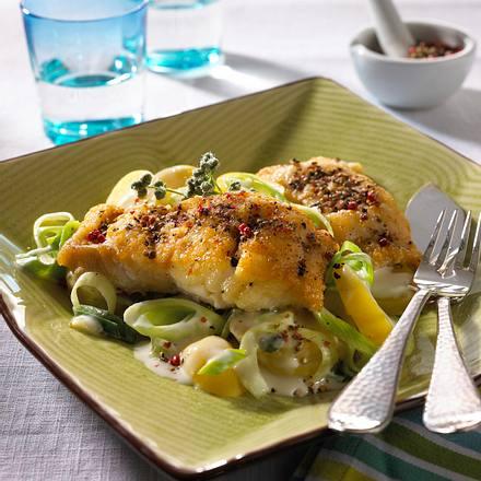 Pfefferfisch auf Lauchkartoffeln Rezept