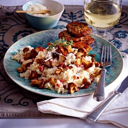 Pfifferlings-Risotto zu Parmesan-Thymian-Schnitzelchen Rezept