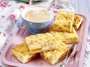 Pfirsich-Käsekuchen mit Zimtstreuseln Rezept