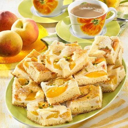 Pfirsich-Käsekuchen vom Blech Rezept