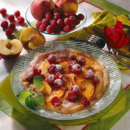 Pfirsich-Pfannkuchen mit Himbeeren (Diabetiker) Rezept