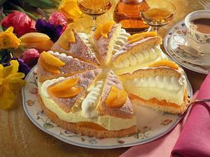 Pfirsich-Zitronen-Fächertorte Rezept