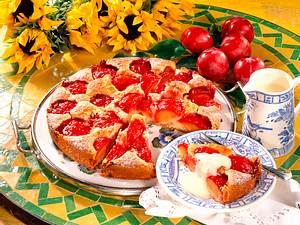 Pflaumenkuchen mit Vanillesoße Rezept