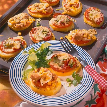 Pikante Kartoffel-Mini-Pizzen vom Blech Rezept