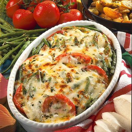 Pikanter Bohnen-Auflauf mit Mozzarella Rezept