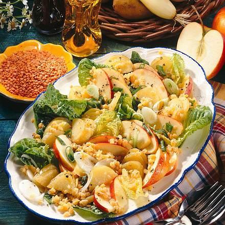 Pikanter Kartoffel-Linsen-Salat Rezept