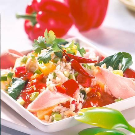 Pikanter Paprika-Reissalat Rezept
