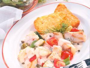 Pikantes Fischragout zu Rösti-Ecken Rezept