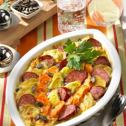 Pikantes Kartoffel-Möhren-Gratin Rezept