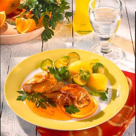 Pikantes Putenschnitzel mit Rosenkohl Rezept