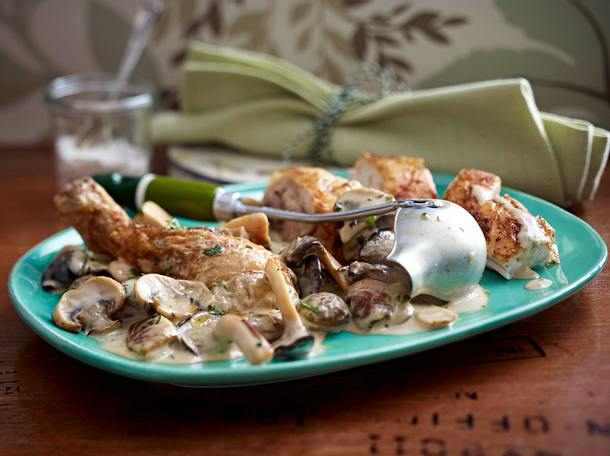 Pilz-Sherry-Frikassee zu gebratenem Huhn Rezept