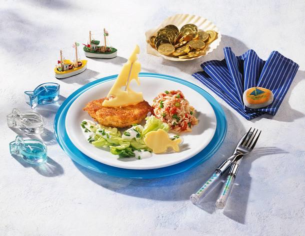 Piratenschnitzel mit Käsesegel Rezept
