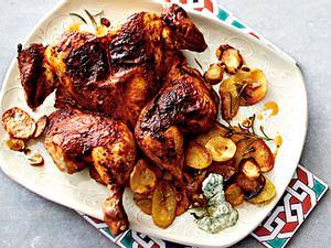 Piri-Piri-Hähnchen mit Kartoffel-Pastinaken-Chips Rezept