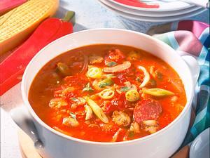 Pizza-Suppe mit Cabanossi Rezept