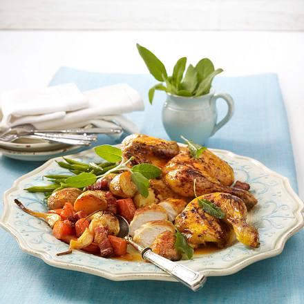 Plattes Huhn mit Gemüse Rezept