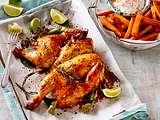 Plattes Huhn mit Süßkartoffelpommes Rezept