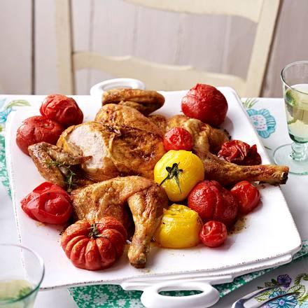 Plattes Huhn zu geschmorten Tomaten Rezept