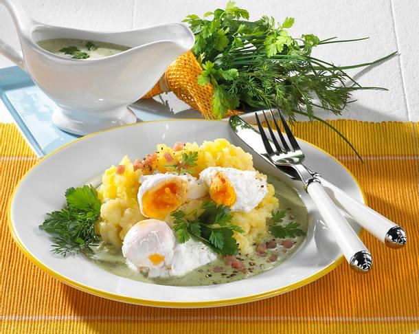Pochierte Eier mit grüner Soße Rezept