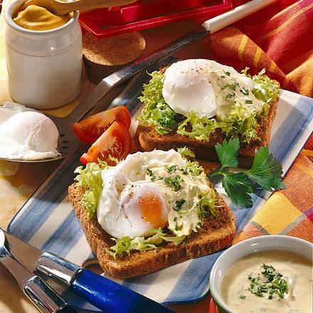 Pochiertes Ei mit Senfcreme Rezept