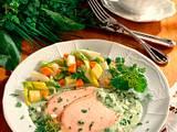 Pochiertes Kasseler mit Frankfurter Grüner Soße und Bouillon-Gemüse Rezept