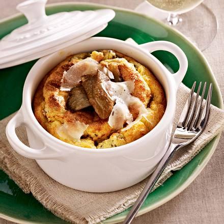 Polenta-Soufflé mit Austernpilzen Rezept