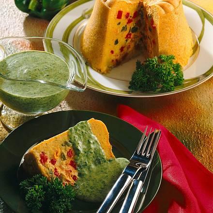 Polentapudding mit Paprikafüllung und Spinat-Sahne-Soße Rezept