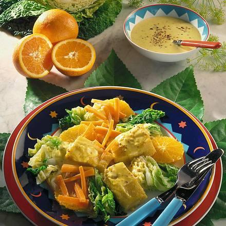 Polentaschnitten und Senfsoße auf Gemüse Rezept