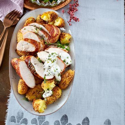 Pommery-Kartoffeln mit Hähnchenkrüstchen Rezept