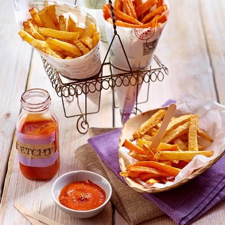 Pommes aus Steckrüben und Möhren mit selbstgemachtem Ketchup Rezept