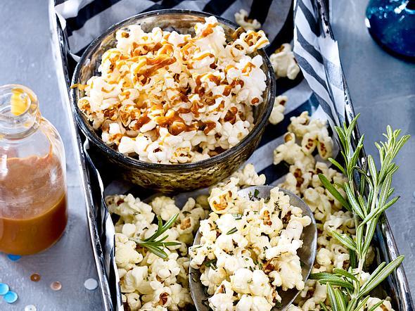 Popcorn süß und salzig (mit Karamell und Rosmarin) Rezept