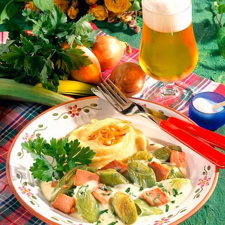 Porree-Gemüse mit Schinkenrahm Rezept