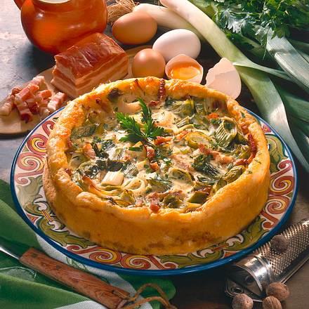 Porree-Speckkuchen mit Kartoffelteig Rezept